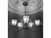 Stunning 5 Arm Chrome Crystal Drop Art Deco Chandelier with Matching Table Lamp