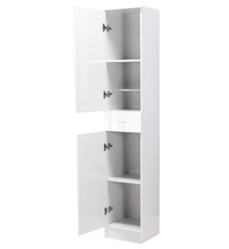 Hygena White Gloss Mirrored Tallboy Bathroom Cabinet with Drawer ...