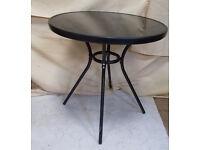 Glass Top Garden Table - Black