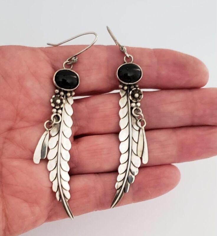 Southwestern Sterling Silver Feather Earrings