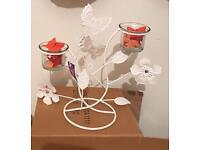 Butterfly/flowers tea light stands