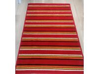 Red striped woven rug, 80cmx150cm