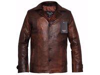 Men's Heist Vintage Brown Leather Coat Jacket