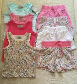 Girls Vests and Shorts - 6-9/9-12 months