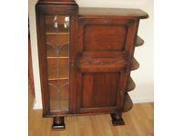 Delightful And Eyecatching Vintage 1930s Solid Oak Cocktail/Sideboard Cabinet.