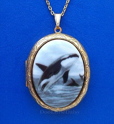 Orca Whale Costume (WHALES Porcelain ORCA KILLER WHALE CAMEO Costume Jewelry Locket Pendant)