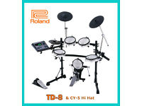 Roland TD-8 electronic V Drums kit CY-5 hihat & VEX upgraded & pedal FULL MESH