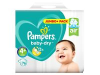2x 76 Pack Pampers size 4+ Baby Dry nappies jumbo+ 9-14kg