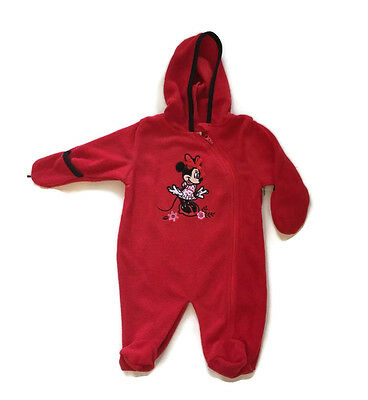 Minnie Mouse Costume For Infants (Disney Minnie Mouse Red Hooded Fleece Bodysuit Footed for Infants Baby)