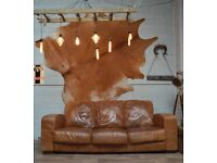 DFS Chesterfield Vintage Leather 3 Seater Sofa Couch Tan