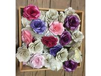 Vintage paper and satin wedding flowers, perfect for display or filling bird cage