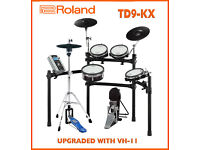 Roland TD-9KX & VH-11 UPGRADED electronic V Drums kit & pedal FULL MESH 3 zone ride