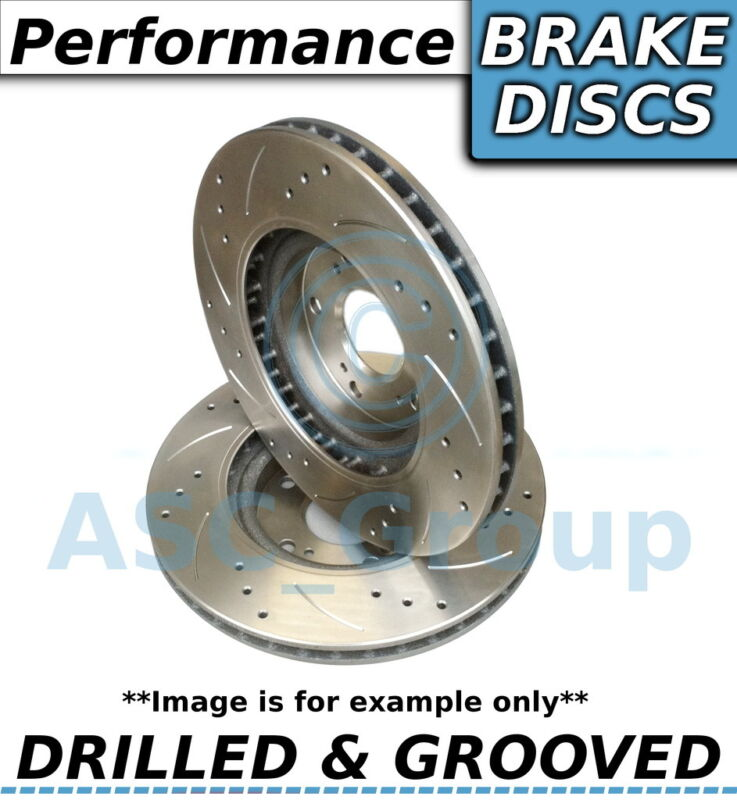 2x (Pair) Uprated Performance Drilled and Grooved Rear Brake Discs - 307mm