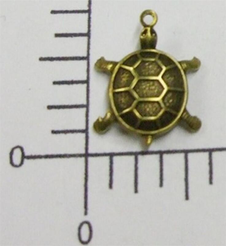48473        4 Pc  Brass Oxidized Small Turtle Charm Jewelry Finding