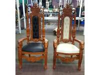 Pair of throne chairs ideal wedding day