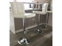 Superb 'As New' 3 x White Grid Breakfast Bar Stools with Gas Lift and 360 Swivel