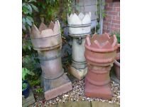 Three reclaimed Ornamental Chimney Pots