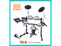 Roland TD-8 electronic V Drums kit CY-5 hihat & VEX upgraded & pedal FULL MESH set