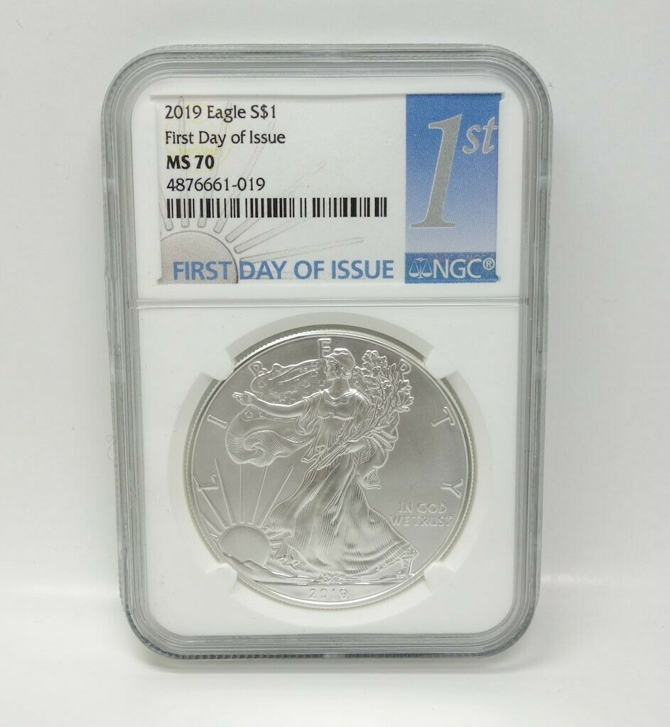 2019 1oz Silver Eagle NGC MS69 First Day Issue White Core