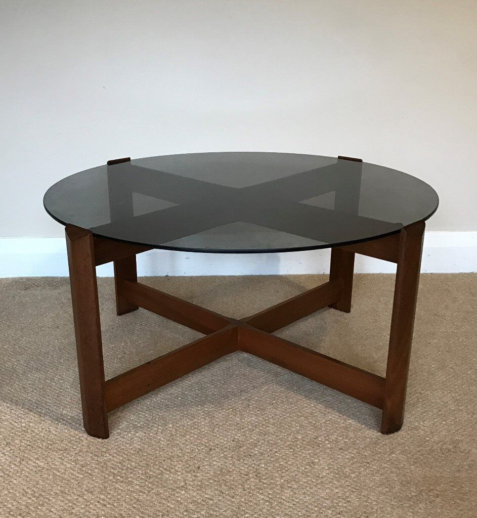 1970 S Retro Vintage Round Teak Coffee Table With Smoked Gl Top By Myer