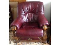 Solid Oak and Mahogany Leather 3 piece suite with beautiful carved features. Excellent condition.