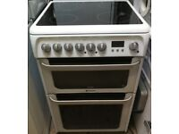 HOTPOINT FREE STANDING COOKER GLASS TOP DOUBLE OVEN AND GRILL IN GOOD WORKING ORDER