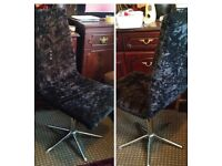 BLACK VELUR. 6 SWIVEL CHAIRS. EXCELLENT CONDITION