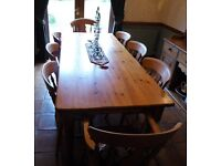 Solid Antique Pine Dining Table Set.