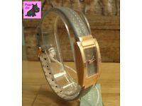 Radley RY2022 Ladies Rectangular Gold Case / Grey Leather Strap Watch – New RRP: £95.00