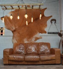 SALE DFS Chesterfield Vintage Leather 3 Seater Sofa Couch Tan