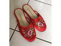 Chinese Embroidered Slippers size 5