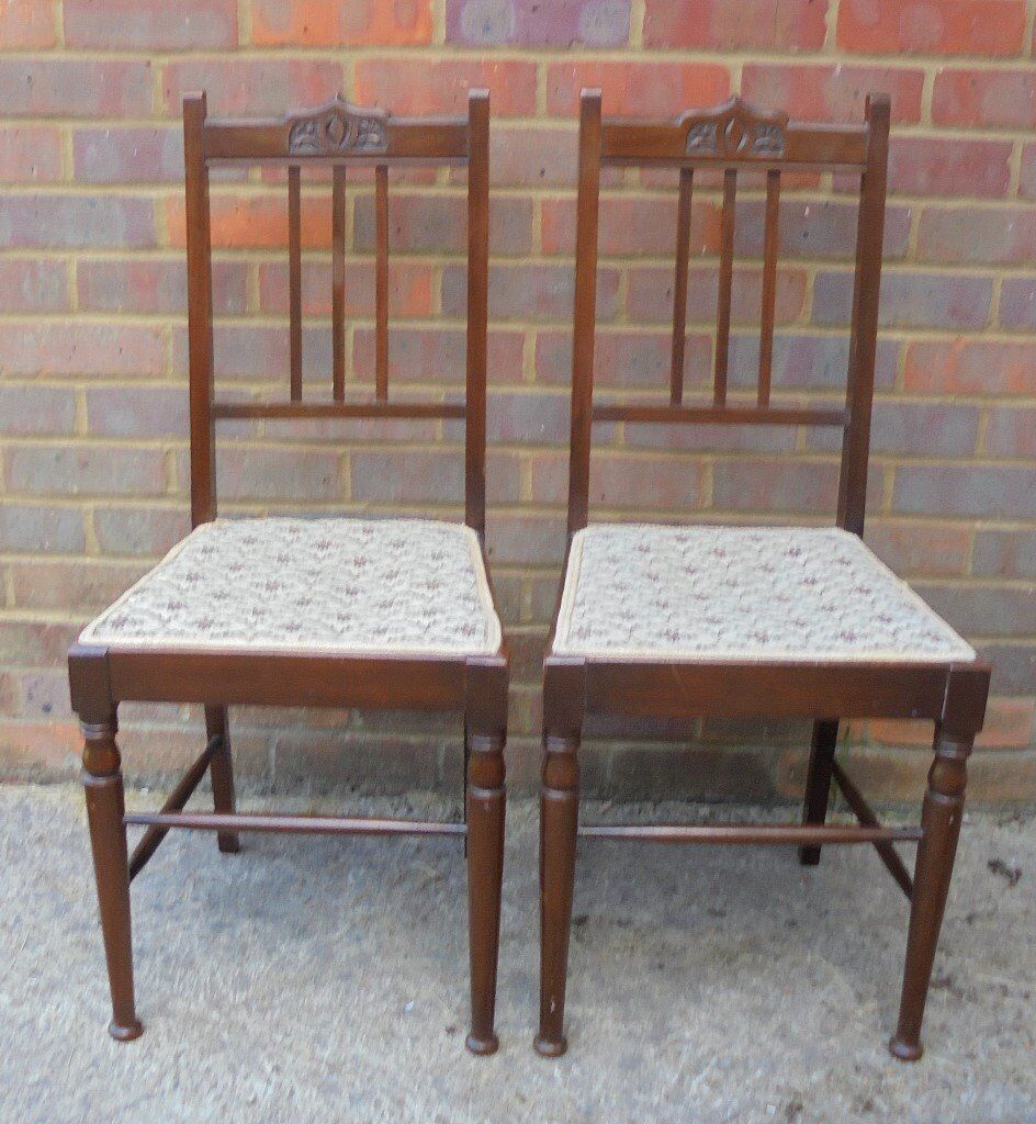 A Pair Of Edwardian Ladies Bedroom Chairs C1901 1910 In