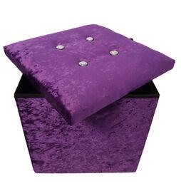 Brand New Purple Crushed Velvet Diamante Single Folding Storage Ottoman Seat Toys Box Pouffee Stool