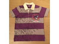 """Brand new vintage Ed Hardy men's medium grey and purple striped """"Dead Or Alive"""" polo shirt."""