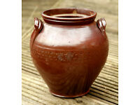 Vintage Rustic Salt-glazed Stoneware Earthenware Pot Crock C1900s Garden Kitchen
