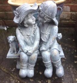 Boy, Girl & Dog Garden Ornament