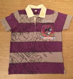 "Brand new vintage Ed Hardy men's medium grey and purple striped ""Dead Or Alive"" polo shirt"