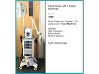 Facial Tower with Steamer, LED Lamp x 5 & 4 Facial Machines