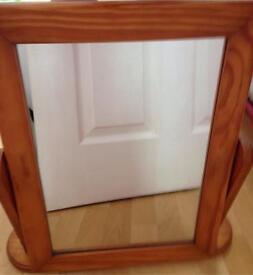 Wooden free standing mirror. £3