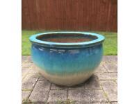 Large blue glazed planter pot