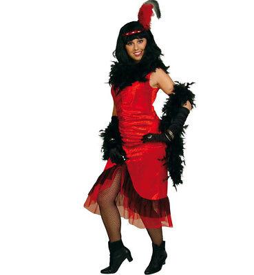 Damenkostüm Saloon-Girl Kleid Wilder-Westen Saloonsängerin Rot-Schwarz - Wilder Westen Damen Kostüm