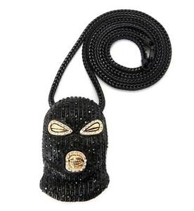 Mens Iced out Goon Ski Mask Plies Rick Ross Chain Necklace Pendant Hip Hop black