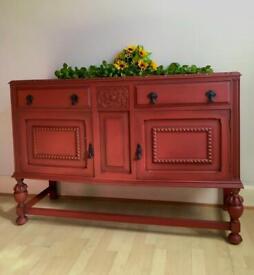 Antique Solid Oak Carved Sideboard Cabinet Buffet
