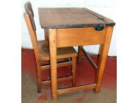 Vintage Child's Opening School Desk with original Matching Chair
