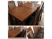 SOLID WOOD. TABLE AND 4 CHAIRS