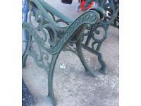 Cast iron bench /chair ends green for Garden etc