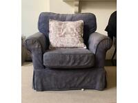 Navy blue patterned armchair
