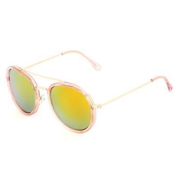 Betsey Johnson Rose Gold Retro Tinted Round Sunglasses 100% UV (Rose Tinted Round Sunglasses)