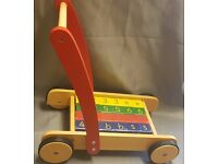 John Lewis Wooden Baby Walker with Coloured Wooden Bricks, Push Along Brick Trolley