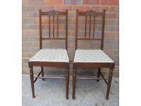 A pair of Edwardian mahogany chairs c1901-1910